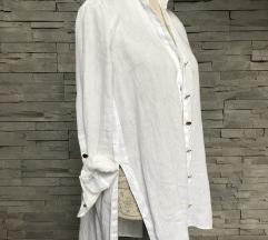 SNIŽENO Oversized bijela lanena košulja