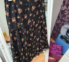 STRADIVARIUS crna cvjetna suknja