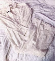 Zara bijela čipkasta tunika duga S 36 cvjetna