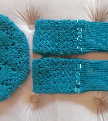 Pleteni komplet francuska kapa i rukavice (SA PT)