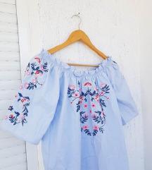 H&M plava izvezena košulja dugih rukava