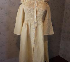 Nježnožuta offshoulder haljina