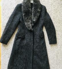 Zara tamnosivi zimski kaput odvojivo krzno vel 36