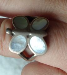 prsten pravo  srebro 925 18mm i sedef