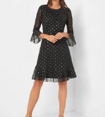 Orsay crna haljina s metalik točkicama