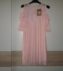 FESTIVAL  CROPP nježno roza haljina od čipke vel.M