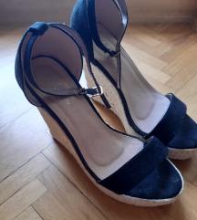 Crne wedge sandale