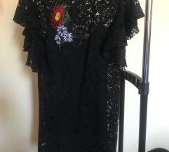 Crna čipkana haljina