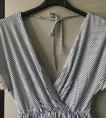 Haljina na prugice s čipkom