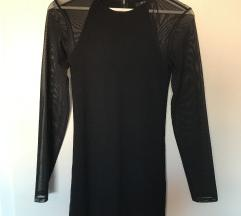 Crna mohito haljina s prozirnim rukavima od tila