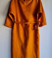 Lanena midi haljina