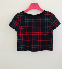 Bershka karirani kratki top bluza majica S