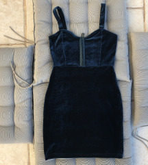 Plišana petrolej haljina novo