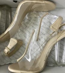 NOVO/ALDO nude sandale od vinila i prave kože
