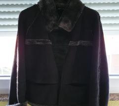 Brušena jakna crno siva