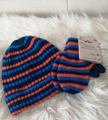 Novi pleteni komplet kapa i rukavice 98-104