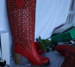Crvene talijanske perforirane čizme 38