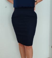 Tamno plava pencil suknja