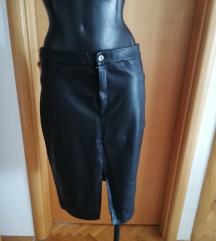 Kožna suknja s prorezom- PT uključena