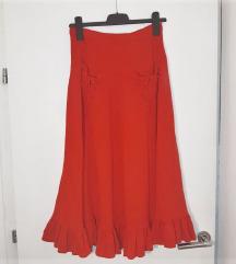 Crvena midi boho suknja M 38