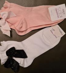 Čarape s masnicama, nove, vel 31 do 33