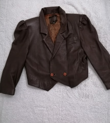 Kožna crop jakna