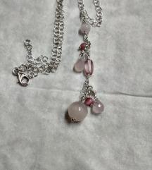 Nova ogrlica srebro, rozenkvarc i staklo