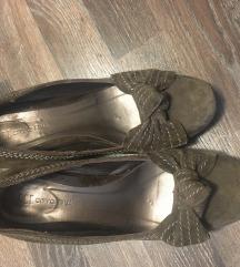 Smeđe maslinaste kožne cipele