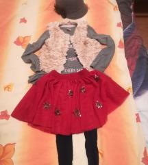 Mekani prsluk H&M majica suknja kapa 104 110