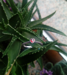 Srebrni prsten - srce, 925