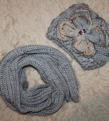 Komplet - pleteni šal i kapa