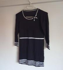 Crno bijela tunika s mašnom, viskoza, kao nova