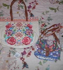 Lot dvije platnene izvezene torbe