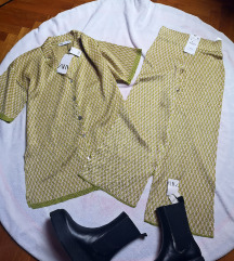 hlače i košulja oversize knit komplet Zara