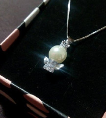 Srebrni lančić, 925, anđeo s biserom