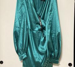 Haljina od satena(zelenoplave boje)