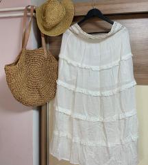 Duga bijela boho suknja