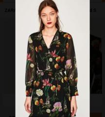 Zara kimono haljina sa printom cvijeca