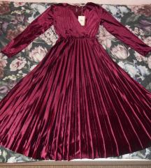 Velvet bordo midi haljina nova s etiketom