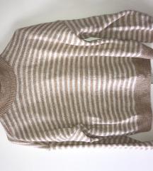 Bež prugasti pulover