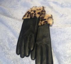 Barney's original crne kožne rukavice s krznom s/m