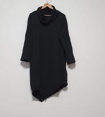 Pamučna crna tunika s ovratnikom