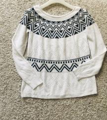 Bijelo crni pulover s uzorkom vel S-M