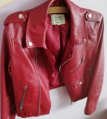 Kožna crvena jaknica