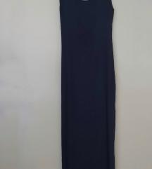 Tamno plava haljina sa prorezima