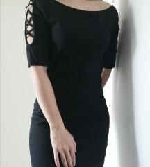 Crna midi haljina