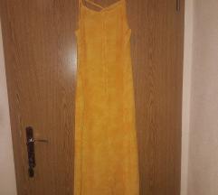 Žuta haljina geometrijskog izreza oko vrata