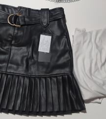 Crna nova kozna suknja s etiketom i body na poklon