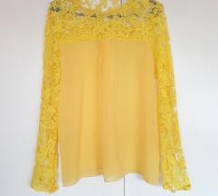 Žuta čipkasta bluza like zara