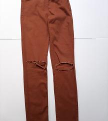 Smeđe uske skinny hlače HM 34